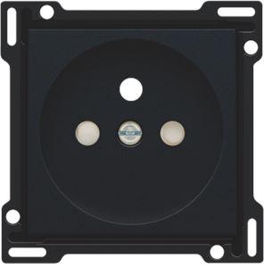 Niko Pure Black Steel, afwerking voor stopcontact met penaarde en kinderveiligheid, inbouwdiepte 28,5 mm