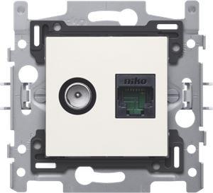Niko, Combinatie coax met RJ45 aansluiting UTP Cat5E, vlakke uitvoering, incl. inbouwraam met sokkel en afwerkingsset Original White. Telenet Interkabel en VOO goedg