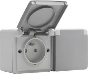 Niko Hydro, dubbel horizontaal stopcontact met penaarde, kinderveiligheid en schroefklemmen – inclusief doos met twee ingangen bovenaan