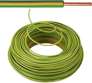 Câble VOB 4 mm² - jaune/vert (H07V-U) - VOB4GG