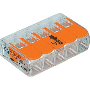 WAGO - Verbindingsklem COMPACT: 5 x 0,14 - 4 mm² - Transparant & Oranje