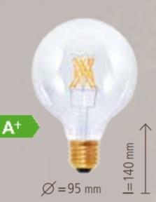 Segula - LED Globe 95 6W clear CRI+90 2200K 500LM