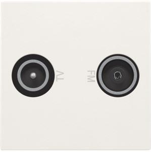 Niko Original White, afwerking voor 2x meervoudige coaxaansluiting tv en FM voor inbouw in installatiekanalen of spatwaterdicht schakelmateriaal