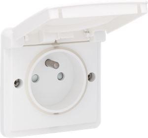 Niko Hydro, spuitwaterdicht stopcontact opbouw 16 A/250 Vac met penaarde, kinderveiligheid en met schroefklemmen, exclusief opbouwdoos, white