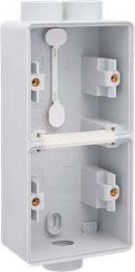 Niko, Hydro, dubbele verticale opbouwdoos met één tweevoudige M20-ingang én één enkelvoudige M20-ingang voor het inbouwen van twee functie
