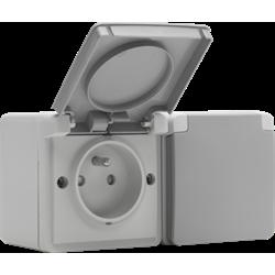 Niko Hydro, dubbel horizontaal stopcontact met penaarde, kinderveiligheid en insteekklemmen – inclusief doos met twee ingangen bovenaan