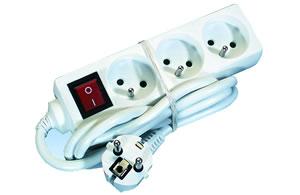 Elimex - KF-FB-03K AC Power strip 3x10/16A + 1,5m cord + switch