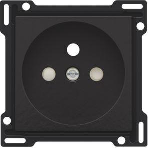 Niko Bakelite® piano black coated, afwerking voor stopcontact met penaarde en kinderveiligheid, inbouwdiepte 28,5 mm