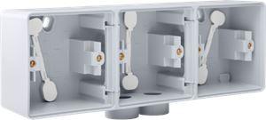 Niko, Hydro, drievoudige horizontale opbouwdoos met één tweevoudige M20-ingang voor het inbouwen van drie functies