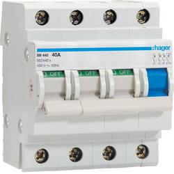 HAGER - Modulaire schakelaar 4 polig 25A