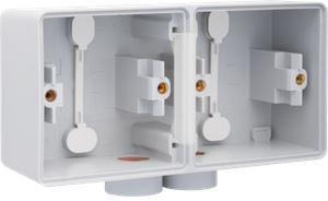 Niko, Hydro, dubbele horizontale opbouwdoos met één tweevoudige M20-ingang voor het inbouwen van twee functies