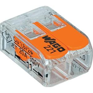 WAGO - Verbindingsklem COMPACT: 2 x 0,14 - 4 mm² - Transparant & Oranje