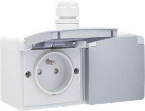 Niko Hydro, dubbel horizontaal stopcontact met penaarde, kinderveiligheid en schroefklemmen – inclusief doos met één ingang bovenaan