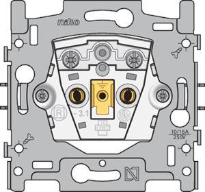 Niko, stopcontact zonder aarding, inbouwdiepte 21 mm, 16 A/250 Vac, schroefklemmen