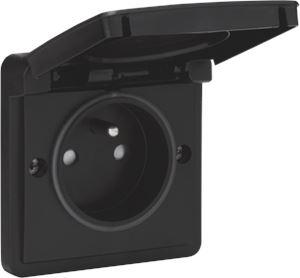 Niko Hydro, spuitwaterdicht stopcontact opbouw 16 A/250 Vac met penaarde, kinderveiligheid en met schroefklemmen, exclusief opbouwdoos, black