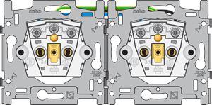Niko, dubbel stopcontact horizontaal met penaarde en kinderveiligheid, inbouwdiepte 28,5 mm, schroefklemmen