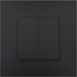 Niko Home control, tweevoudige drukknop LED, Pure Bakelite piano black coated