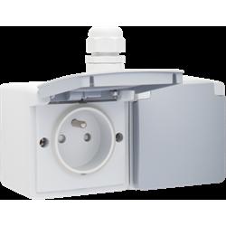 Niko Hydro, dubbel horizontaal stopcontact met penaarde, kinderveiligheid en insteekklemmen – inclusief doos met één ingang bovenaan