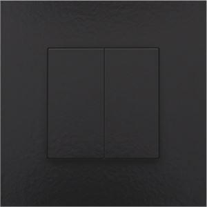 Niko Home control, tweevoudige drukknop, Pure Bakelite piano black coated