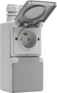 Niko Hydro, dubbel verticaal stopcontact met penaarde, kinderveiligheid en schroefklemmen – inclusief doos met twee ingangen bovenaan