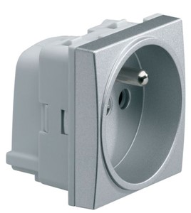 HAGER - systo stopcontact 2 P + A 16A, QC, titanium