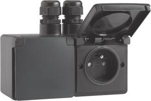 Niko Hydro, spuitwaterdicht dubbel horizontaal stopcontact met penaarde, kinderveiligheid en schroefklemmen – inclusief doos met twee ingangen bovenaan,