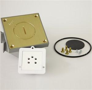 Arpi - Messing vloerstopcontact Belgacom tel (4 kont. + 1 pos. gat)