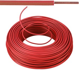 VOB kabel / draad 4 mm² - rood (H07V-U) - VOB4RO