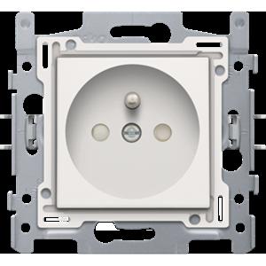 Niko, Stopcontact met penaarde en kinderveiligheid, inbouwdiepte 28,5 mm, sokkel met insteekklemmen en afwerkingsset Original White