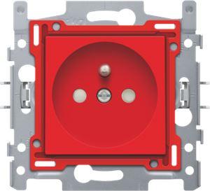 Stopcontact met penaarde en kinderveiligheid, inbouwdiepte 28,5 mm, sokkel en afwerkingsset, schroefklemmen, red
