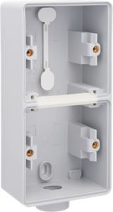 Niko, Hydro, dubbele verticale opbouwdoos met één M20-ingang voor het inbouwen van twee functies