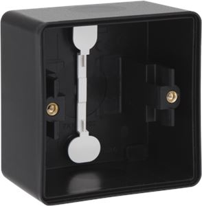 Niko Hydro, spuitwaterdichte opbouwdoos met twee enkelvoudige soepele ingangen voor het inbouwen van één functie, black
